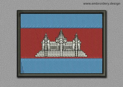 This Flags Patch Cambodia design was digitized and embroidered by www.embroidery.design.