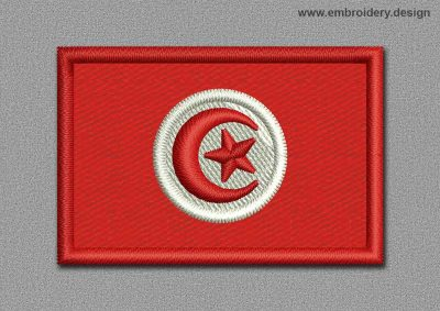 This Flags Patch of Tunisia design was digitized and embroidered by www.embroidery.design.