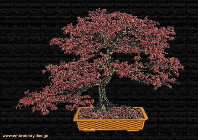 This Red Maple bonsai design was digitized and embroidered by www.embroidery.design.