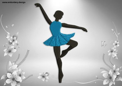 This Refined ballerina design was digitized and embroidered by www.embroidery.design.