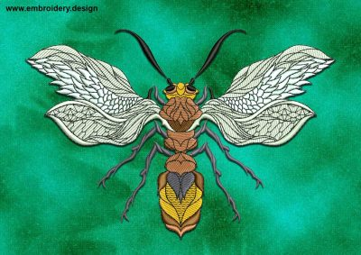 This Refined Wasp design was digitized and embroidered by www.embroidery.design.