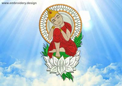 This Resting Buddha design was digitized and embroidered by www.embroidery.design.
