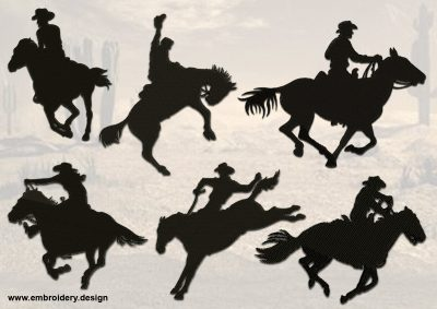The pack of embroidery designs Rodeo Silhouettes consists 6 items.