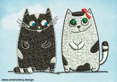 This Romantic couple of cats design was digitized and embroidered by www.embroidery.design.