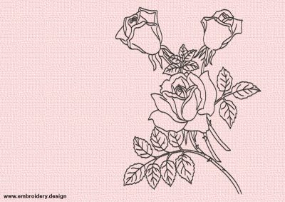 The embroidery design Roses flowers will look perfect on the t-shirts