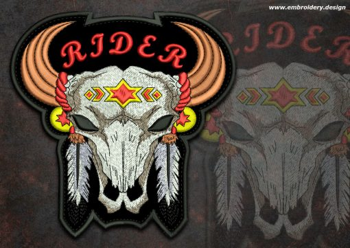 This Biker patch Buffalo rider round design was digitized and embroidered by www.embroidery.design.