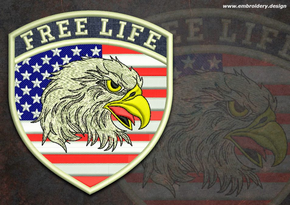 Biker patch Eagle with flag of USA round