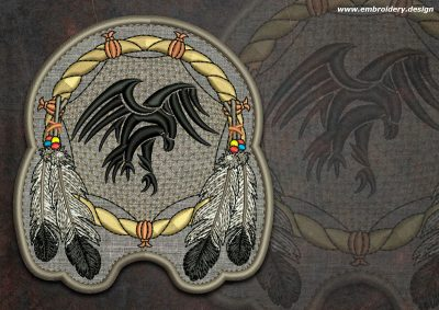 This Biker patch Falcon in dreamcatcher round design was digitized and embroidered by www.embroidery.design.