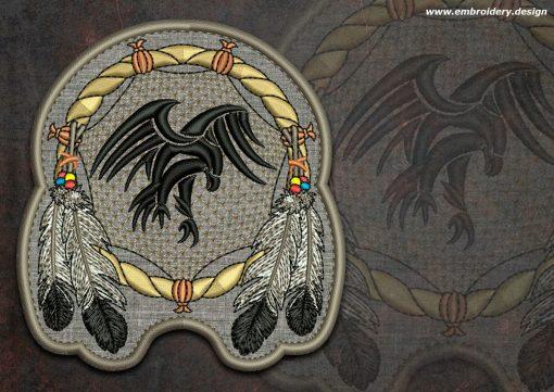 This Biker patch Falcon in dreamcatcher round