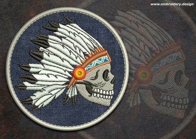 This Biker patch Indian skull round design was digitized and embroidered by www.embroidery.design.