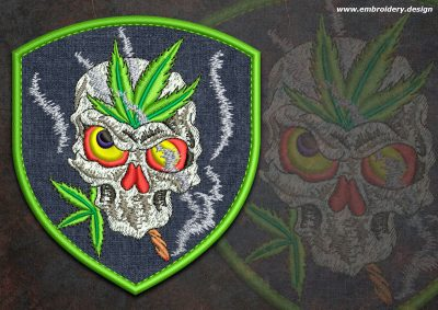This Biker patch Mad smoking skull round design was digitized and embroidered by www.embroidery.design.