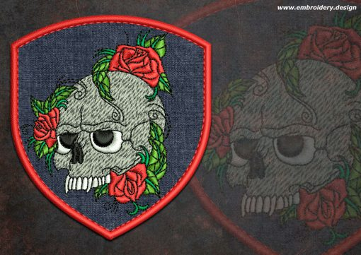 This Biker patch Skull with flowers round