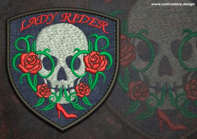 This Biker patch Skull lady rider round design was digitized and embroidered by www.embroidery.design.