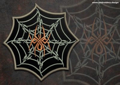 This Biker patch Spider with creative web round design was digitized and embroidered by www.embroidery.design.