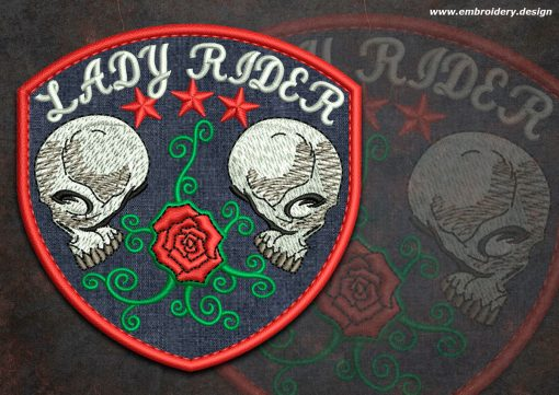 This Biker patch Two Skulls with a rose round