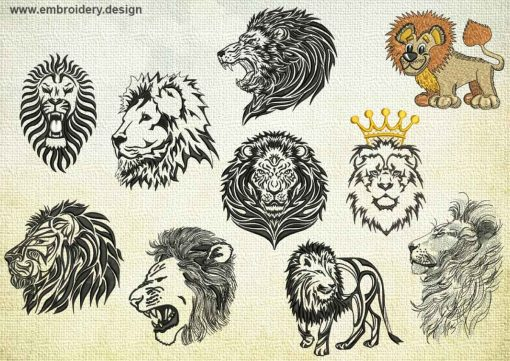 This Royal Lions embroidery designs pack design was digitized and embroidered by www.embroidery.design.