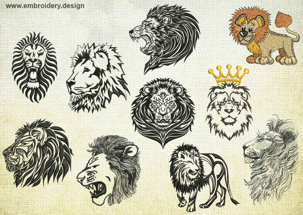royal lions embroidery designs pack collection of 10