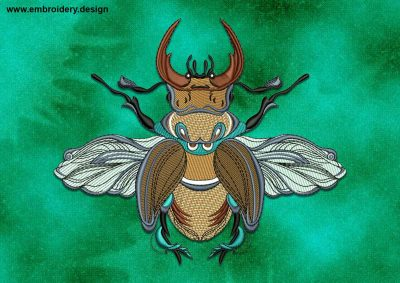 This Royal stag beetle design was digitized and embroidered by www.embroidery.design.