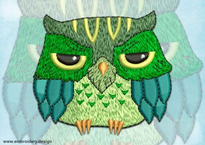 This Ruffled owl design was digitized and embroidered by www.embroidery.design.