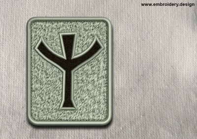 This Rune Algiz, transparent background design was digitized and embroidered by www.embroidery.design.