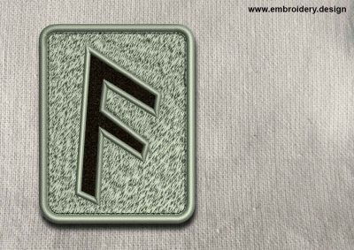 This Rune Ansuz, transparent background design was digitized and embroidered by www.embroidery.design.