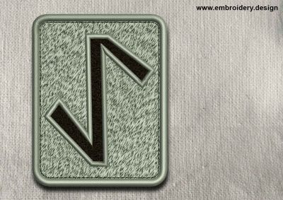 This Rune Eihwaz, transparent background design was digitized and embroidered by www.embroidery.design.
