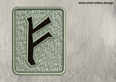 This Rune Fehu, transparent background design was digitized and embroidered by www.embroidery.design.
