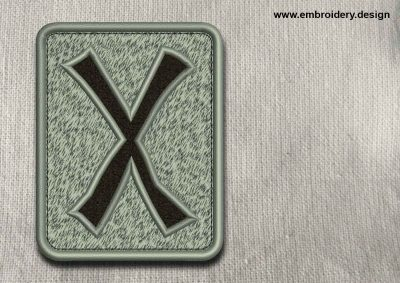 This Rune Gebo, transparent background design was digitized and embroidered by www.embroidery.design.