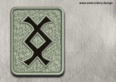 This Rune Inguz, transparent background design was digitized and embroidered by www.embroidery.design.