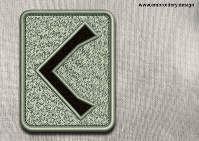 This Rune Kennaz, transparent background design was digitized and embroidered by www.embroidery.design.