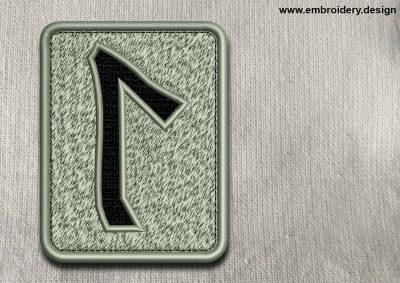 This Rune Laguz, transparent background design was digitized and embroidered by www.embroidery.design.