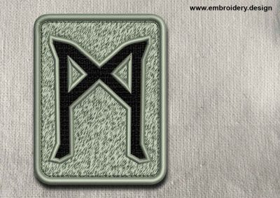 This Rune Mannaz, transparent background design was digitized and embroidered by www.embroidery.design.
