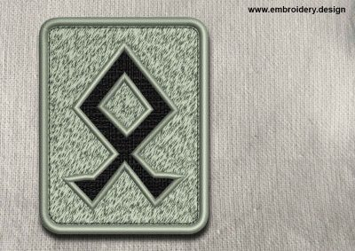 This Rune Othala, transparent background design was digitized and embroidered by www.embroidery.design.