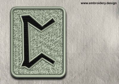 This Rune Perthro, transparent background design was digitized and embroidered by www.embroidery.design.