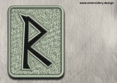 This Rune Raido, transparent background design was digitized and embroidered by www.embroidery.design.