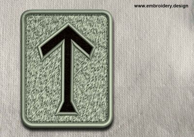 This Rune Teiwaz, transparent background design was digitized and embroidered by www.embroidery.design.