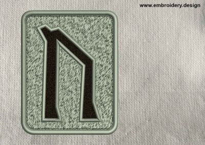 This Rune Uruz, transparent background design was digitized and embroidered by www.embroidery.design.