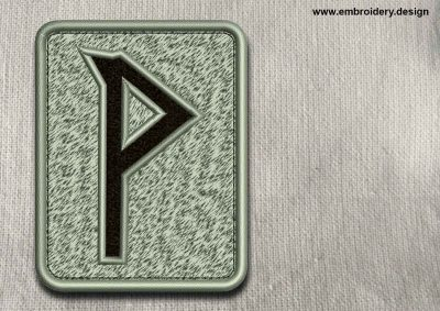 This Rune Wunjo, transparent background design was digitized and embroidered by www.embroidery.design.