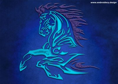 This Running horse design was digitized and embroidered by www.embroidery.design.