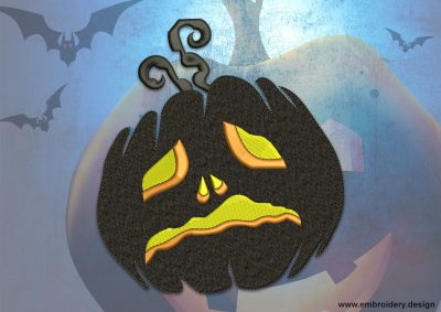 This Sad pumpkin design was digitized and embroidered by www.embroidery.design.