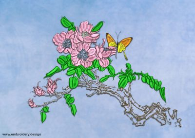 This Sakura bloom design was digitized and embroidered by www.embroidery.design.