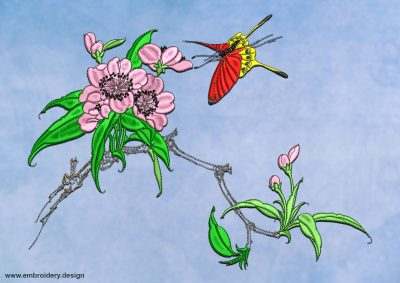 This Sakura branch with butterfly design was digitized and embroidered by www.embroidery.design.