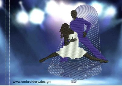 This Samba movements design was digitized and embroidered by www.embroidery.design.
