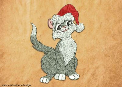 This Santa kitten design was digitized and embroidered by www.embroidery.design.