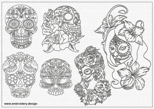 The pack of embroidery designs Santa Muerte contains 6 designs