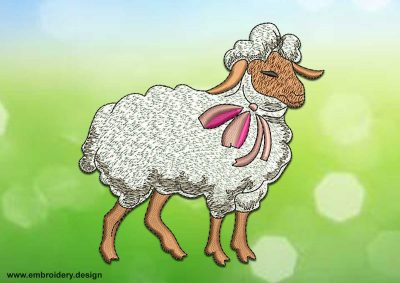 This Satisfied sheep design was digitized and embroidered by www.embroidery.design.