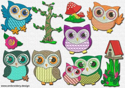 This Saucer eyed owls' pack #1 design was digitized and embroidered by www.embroidery.design.