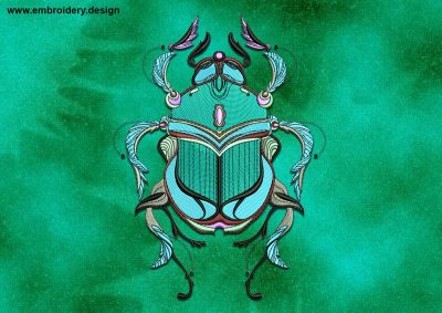 This Scarab design was digitized and embroidered by www.embroidery.design.