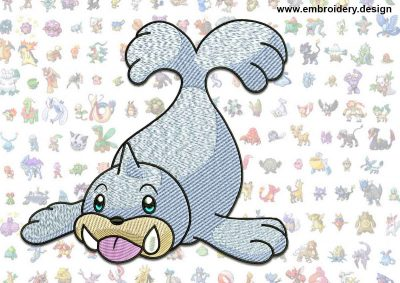 This Seel Pokemon design was digitized and embroidered by www.embroidery.design.