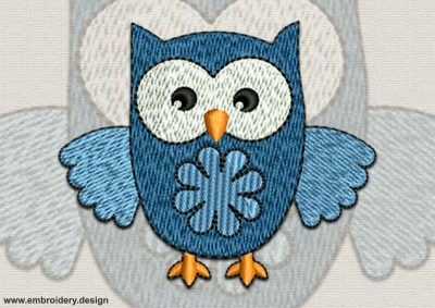 This Serious owlet design was digitized and embroidered by www.embroidery.design.